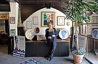 Palermo:Maria Falcone nella sede della fondazione Giovanni Falcone accanto il ritratto del fratello <br /> Palermo: Maria Falcone next to the portrait of the brother Giovanni  murdered by mafia.