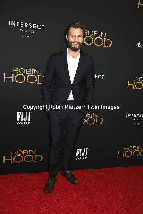 """actor Jamie Dornan attends the New York Special Screening of """"Robin Hood"""" on November 11, 2018 at AMC Lincoln Square in New York, New York, USA.<br /> <br /> photo by Robin Platzer/Twin Images<br />  <br /> phone number 212-935-0770"""
