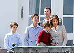 16-04-2014 Balcony 74th birthday of the Danish Queen at Marselisborg Castle in Aarhus.<br /> Prince Joachim and Princess Marie and Prince Nikolai and Prince Felix and Prince Henrik <br /> <br /> <br /> <br /> Credit: PPE/face to face<br /> - No Rights for Netherlands -