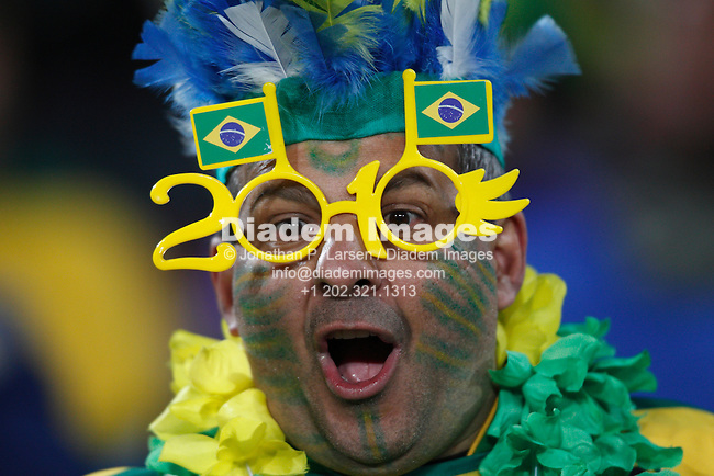 JOHANNESBURG - JUNE 15:  A Brazil supporter seen prior to the start of a 2010 FIFA World Cup soccer match between Brazil and North Korea June 15, 2010 in Johannesburg, South Africa.  NO mobile use.  Editorial ONLY.  (Photograph by Jonathan P. Larsen)