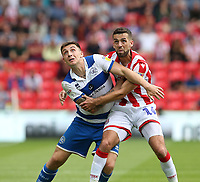 Queens Park Rangers' Jordan Hugill and Stoke City's Tommy Smith <br /> <br /> Photographer Stephen White/CameraSport<br /> <br /> The EFL Sky Bet Championship - Stoke City v Queens Park Rangers - Saturday 3rd August 2019 - bet365 Stadium - Stoke-on-Trent<br /> <br /> World Copyright © 2019 CameraSport. All rights reserved. 43 Linden Ave. Countesthorpe. Leicester. England. LE8 5PG - Tel: +44 (0) 116 277 4147 - admin@camerasport.com - www.camerasport.com