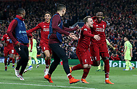 Liverpool's Divock Origi (right) celebrates with Xherdan Shaqiri after scoring his side's fourth goal <br /> <br /> Photographer Rich Linley/CameraSport<br /> <br /> UEFA Champions League Semi-Final 2nd Leg - Liverpool v Barcelona - Tuesday May 7th 2019 - Anfield - Liverpool<br />  <br /> World Copyright © 2018 CameraSport. All rights reserved. 43 Linden Ave. Countesthorpe. Leicester. England. LE8 5PG - Tel: +44 (0) 116 277 4147 - admin@camerasport.com - www.camerasport.com
