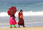 Womans walking at Kovalam Beach, Kerala