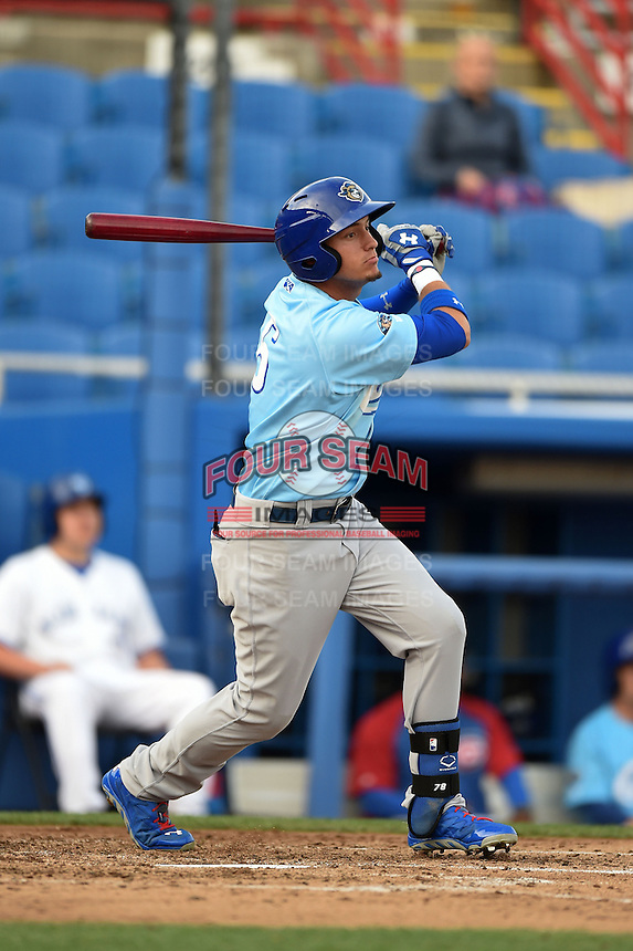 Daytona Cubs outfielder Albert Almora (6) at bat during a game against the Dunedin Blue Jays on April 14, 2014 at Florida Auto Exchange Stadium in Dunedin, Florida.  Dunedin defeated Daytona 1-0  (Mike Janes/Four Seam Images)