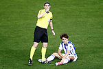 Real Sociedad's Alvaro Odriozola injured in presence of the spanish referee Alberto Undiano Mallenco during La Liga match. April 4,2017. (ALTERPHOTOS/Acero)