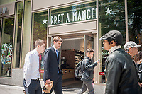A branch of the Pret A Manger sandwich chain in Midtown Manhattan in New York on Wednesday, May 10, 2017. Pret A Manger owner Bridgeport Advisors is reported to be considering a U.S. IPO for the fast casual chain of restaurants. (© Richard B. Levine)