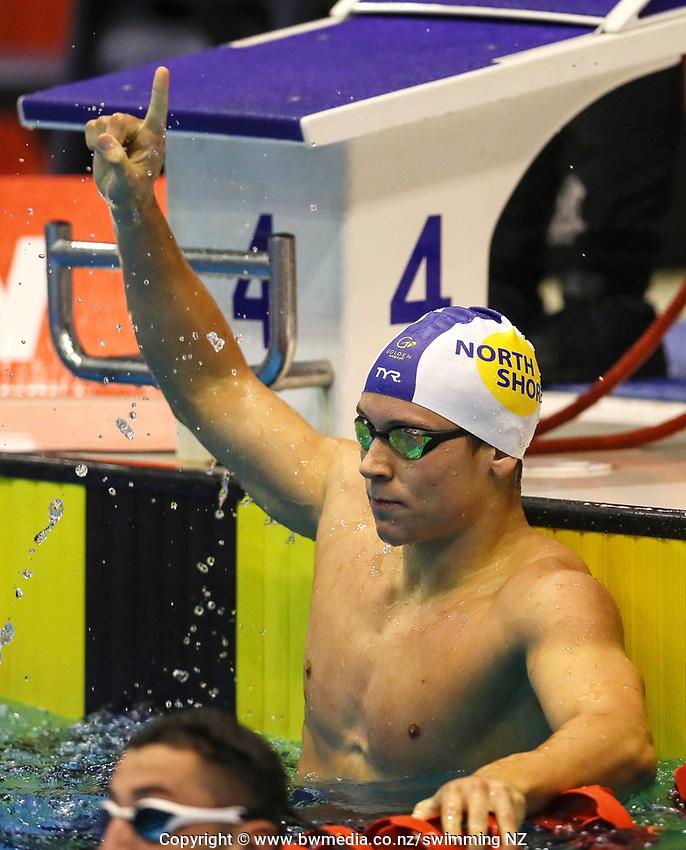 Michael Pickett, 100m 16years Free NAG record.  Swimming New Zealand Aon National Age Group Championships, Wellington Regional Aquatic Centre, Wellington, New Zealand, Saturday 20 April 2019. Photo: Simon Watts/www.bwmedia.co.nz