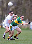 25-02-12: Patrick Curtin, Kerry, under pressure from Andriu MacLochlainn, Kildare, during the senior football challenge match between Kerry and Kildare at the Ballymacelligott GAA Club official pitch reopening on Saturday.  Picture: Eamonn Keogh (MacMonagle, Killarney)