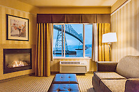 Hotel room view of the Astoria-Megler Bridge, Columbia River, a steel girder continuous truss bridge spanning the Columbia River between Astoria, Oregon and Point Ellice, Megler, Washington, United States.  Total span 14 miles.  It is the longest continuous bridge in North America.