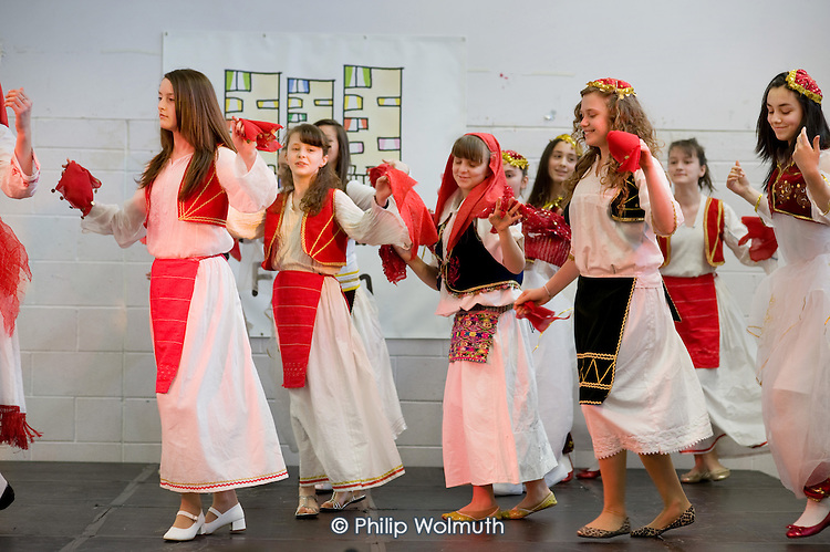 Ardhmeria Albanian dance group perform at Westbourne Neighbourhood Forum International Day at the Stowe
