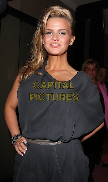KERRY KATONA .Attitude's Sweet 16 Birthday Party held at the Mayfair Hotel, London, England, UK, May 5th 2010.half length grey gray dress hand on hip bracelet silk .CAP/JIL.©Jill Mayhew/Capital Pictures