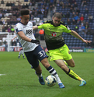 Preston North End's Callum Robinson battles with  Reading's Joey van den Berg<br /> <br /> Photographer Mick Walker/CameraSport<br /> <br /> The EFL Sky Bet Championship - Preston North End v Reading - Saturday 11th March 2017 - Deepdale - Preston<br /> <br /> World Copyright &copy; 2017 CameraSport. All rights reserved. 43 Linden Ave. Countesthorpe. Leicester. England. LE8 5PG - Tel: +44 (0) 116 277 4147 - admin@camerasport.com - www.camerasport.com