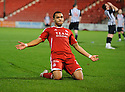 ABERDEEN'S JOSH MAGENNIS CELEBRATES AFTER HE SCORES ABERDEEN'S EQUALISING THIRD