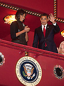 "Washington, DC - February 6, 2009 -- United States President Barack Obama and first lady Michelle Obama wave as they arrive at the Kennedy Center Washington, D.C., U.S., on Friday, February 6, 2009. The first family was attending a performance of the ""Alvin Ailey American Dance Theater At 50 -- A Golden Anniversary Celebration"".Credit: Joshua Roberts / Pool via CNP"