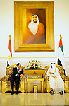 Egyptian President Abdel Fattah al-Sisi meets with Crown Prince of Abu Dhabi Sheikh Mohammed bin Zayed al-Nahyan at the Presidential Airport in Abu Dhabi, UAE, May 3, 2017. Photo by Egyptian President Office