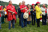 USA, Tennessee, Nashville, Iroquois Steeplechase, respecting the flag during the National Anthem