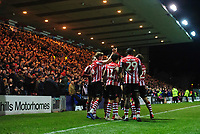 Lincoln City's Mark O'Hara, left, celebrates scoring the opening goal with team-mates<br /> <br /> Photographer Chris Vaughan/CameraSport<br /> <br /> The EFL Sky Bet League Two - Lincoln City v Yeovil Town - Friday 8th March 2019 - Sincil Bank - Lincoln<br /> <br /> World Copyright © 2019 CameraSport. All rights reserved. 43 Linden Ave. Countesthorpe. Leicester. England. LE8 5PG - Tel: +44 (0) 116 277 4147 - admin@camerasport.com - www.camerasport.com