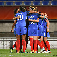20170718 - TILBURG , NETHERLANDS : French players celebrating their penalty goal pictured during the female soccer game between France and Iceland  , the frist game in group C at the Women's Euro 2017 , European Championship in The Netherlands 2017 , Tuesday 18 th June 2017 at Stadion Koning Willem II  in Tilburg , The Netherlands PHOTO SPORTPIX.BE | DIRK VUYLSTEKE