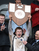 Methody skipper Rory Winters lifts the Medallion Shield after his sides victory over Campbell College at Ravenhill. Mandatory Credit - John Dickson