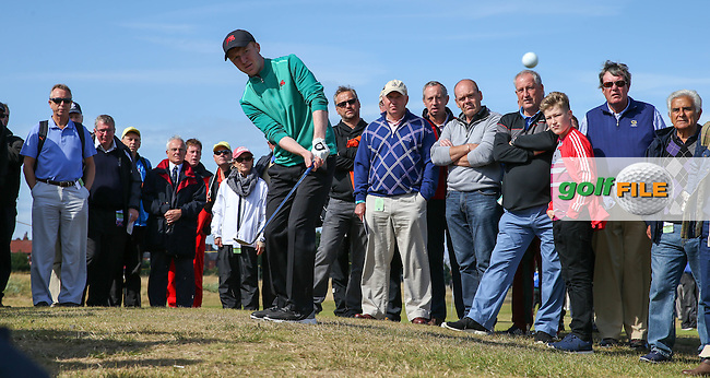 Chipping from the back of the 15th is Gavin Moynihan (IRL)  during Sunday morning Foursome matches of The Walker Cup 2015 played at Royal Lytham and St Anne's, Lytham St Anne's, Lancashire, England. 13/09/2015. Picture: Golffile | David Lloyd<br /> <br /> All photos usage must carry mandatory copyright credit (&copy; Golffile | David Lloyd)