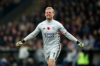 3rd November 2019; Selhurst Park, London, England; English Premier League Football, Crystal Palace versus Leicester City; Kasper Schmeichel of Leicester City  celebrates the goal from Jamie Vardy for 0-2 in the 88th minute - Strictly Editorial Use Only. No use with unauthorized audio, video, data, fixture lists, club/league logos or 'live' services. Online in-match use limited to 120 images, no video emulation. No use in betting, games or single club/league/player publications