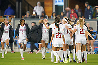 SAN JOSE, CA - DECEMBER 6: Stanford Cardinal players celebrate at the final whistle during a game between UCLA and Stanford Soccer W at Avaya Stadium on December 6, 2019 in San Jose, California.