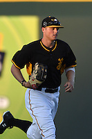 Bradenton Marauders outfielder Austin Meadows (13) jogs to the dugout in between innings during a game against the Charlotte Stone Crabs on April 22, 2015 at McKechnie Field in Bradenton, Florida.  Bradenton defeated Charlotte 7-6.  (Mike Janes/Four Seam Images)