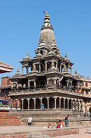 Nepal, Patan.  Krishna Mandir, Durbar Square, February 18, 2009.  Survived earthquake of April 2015.