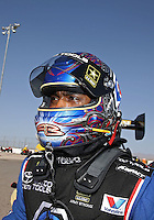 Apr. 7, 2013; Las Vegas, NV, USA: NHRA top fuel dragster runner-up Antron Brown after losing in the final round of the Summitracing.com Nationals at the Strip at Las Vegas Motor Speedway. Mandatory Credit: Mark J. Rebilas-