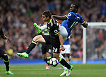 Cesar Azpilicueta of Chelsea and Romelu Lukaku of Everton  during the English Premier League match at Goodison Park , Liverpool. Picture date: April 30th, 2017. Photo credit should read: Lynne Cameron/Sportimage