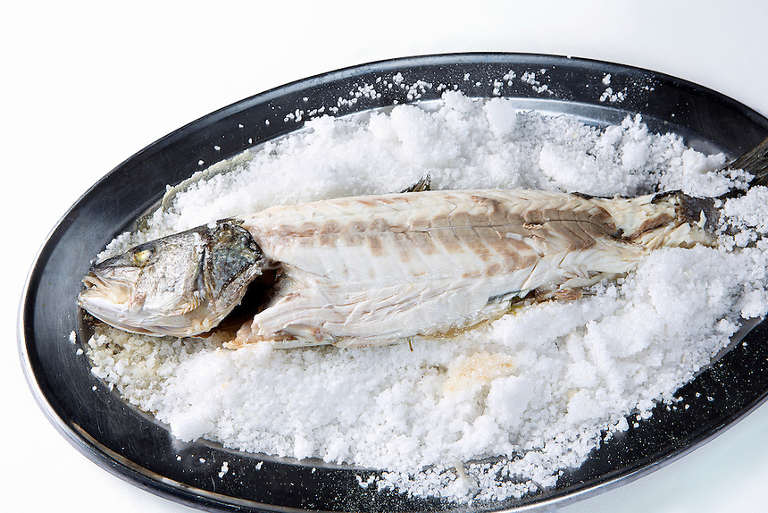 fresh fish packed in salt