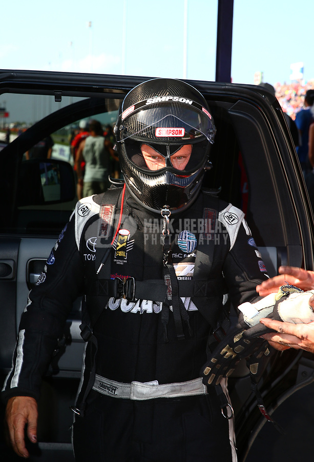 Apr 21, 2017; Baytown, TX, USA; NHRA funny car driver Del Worsham during qualifying for the Springnationals at Royal Purple Raceway. Mandatory Credit: Mark J. Rebilas-USA TODAY Sports
