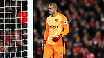 Darren Randolph of West Ham United during the Premier League match at Anfield Stadium, Liverpool. Picture date: December 11th, 2016.Photo credit should read: Lynne Cameron/Sportimage