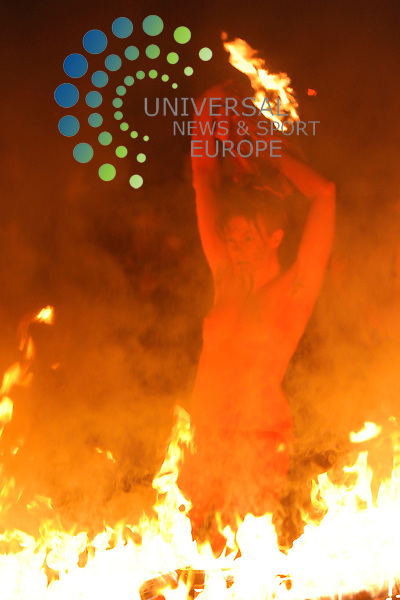 Thousands of people watch the annual pagan-inspired Beltane Fire festival in Edinburgh..The event on the capital's Calton Hill, marks the beginning of summer and celebrates an ancient Celtic festival..Picture: Pavol Mraz/Universal News And Sport (Scotland). 30/April 2013.