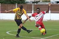 Johan Ter Horst of Folkestone takes a shot at the Ramsgate goal as Abdul Salami tries to block the ball  during Ramsgate vs Folkestone Invicta, Friendly Match Football at Southwood Stadium on 1st August 2020