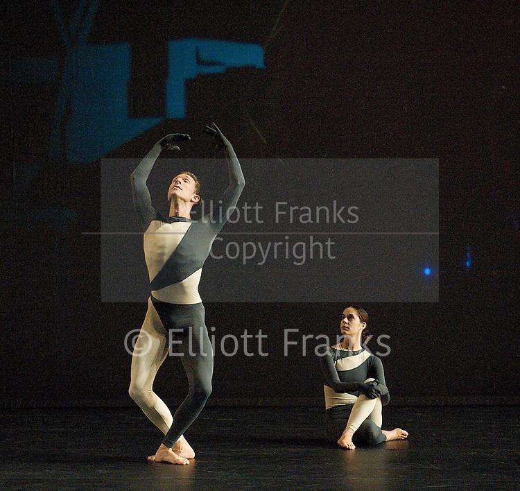Nearly Ninety<br /> The Merce Cunningham Dance Company <br /> choreography by Merce Cunningham<br /> at The Barbican Theatre, London, Great Britain <br /> rehesrsal <br /> 26th October 2010 <br /> <br /> <br /> Daniel Madoff<br /> <br /> Jennifer Coggans<br /> <br /> <br /> Photograph by Elliott Franks<br /> 2010&copy;Elliott Franks