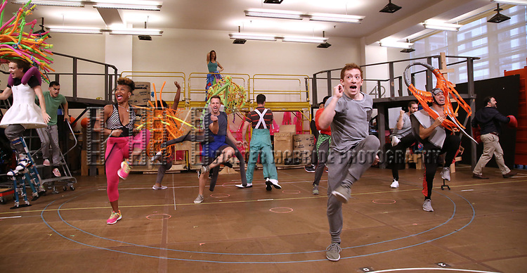 Ethan Slater and cast during the Rehearsal Press Preview of the New Broadway  Musical on 'SpongeBob SquarePants'  on October 11, 2017 at the Duke 42nd Street Studios in New York City.