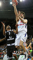 28.03.2012 Bilbao, Spain. Euroleague Playoff game 3. Picture show  Milos Teodosic (R) and AAron Jackson (L)  in action during match betwen Gescrap BB againts CSKA Moscow at Bilbao Arena