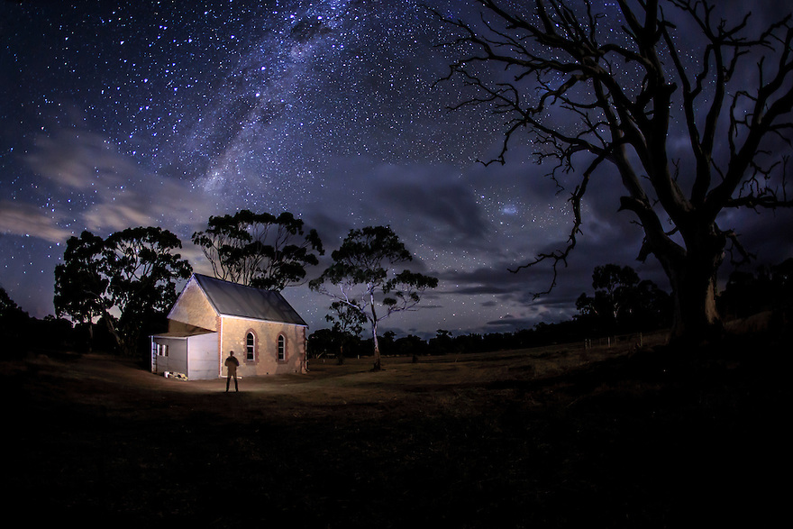 Milky Way and an old Church Australia