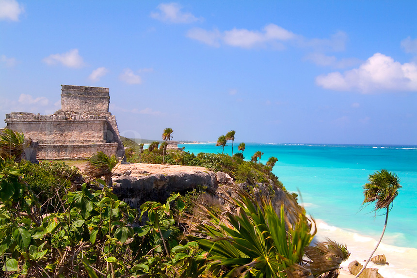 The Famous Tulum Ruins and Landmark of Mexico and the blue ocea