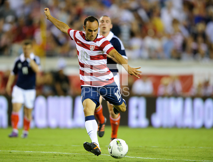 Jacksonville, FL - Saturday, May 26, 2012: Landon Donovan shoots on goal. The USMNT defeated Scotland 5-1 during an international friendly match.