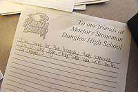 NWA Democrat-Gazette/FLIP PUTTHOFF<br />One of the many messages students at Lingle Middle School wrote Wednesday March 14 2018 that will be sent to Parkland, Fla.