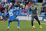 Getafe CF's Sebastian Cristoforo and Real Sociedad's Theo Hernandez during La Liga match between Getafe CF and Real Sociedad at Coliseum Alfonso Perez in Getafe, Spain. December 15, 2018. (ALTERPHOTOS/A. Perez Meca)