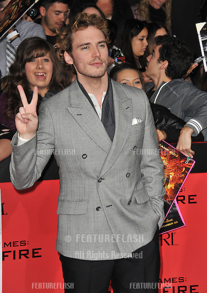 Sam Claflin at the US premiere of his movie &quot;The Hunger Games: Catching Fire&quot; at the Nokia Theatre LA Live.<br /> November 18, 2013  Los Angeles, CA<br /> Picture: Paul Smith / Featureflash