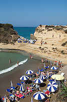 Greece, Corfu, Sidari: Busy beach, Canal d`Amour, on North coast of island