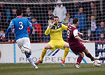 Paul McManus scores for Arbroath past Rangers keeper Cammy Bell