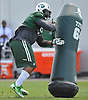 Sheldon Richardson #91 of New York Jets practices during team training camp at Atlantic Health Jets Training Center in Florham Park, NJ on Thursday, Aug. 4, 2016.