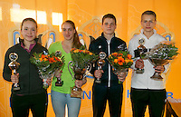 Rotterdam, The Netherlands, 07.03.2014. NOJK ,National Indoor Juniors Championships of 2014, 12and 16 years, Winner girls 16 years Isolde de Jong (NED) and runner up Liza Lebedzeva (NED (R)Winner boys 16 years Tom Moonen (NED) and runner up   Bart Stevens (NED)(L)<br /> Photo:Tennisimages/Henk Koster