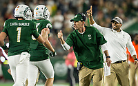 NWA Democrat-Gazette/BEN GOFF @NWABENGOFF<br /> Mike Bobo, Colorado State head coach, fist bumps quarterback K.J. Carta-Samuels after a touchdown in the 4th quarter vs Arkansas Saturday, Sept. 8, 2018, at Canvas Stadium in Fort Collins, Colo.
