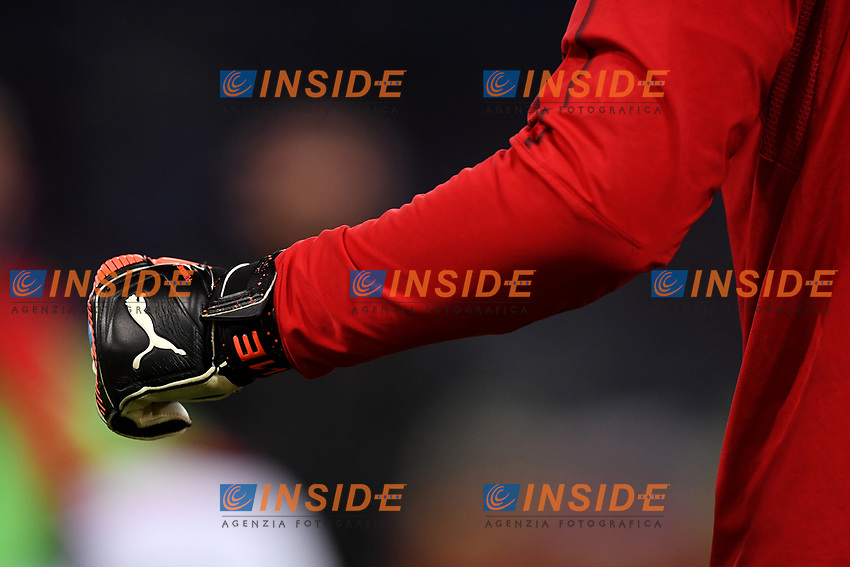 Puma goalkeeper s glove is seen ahead the Serie A 2018/2019 football match between AS Roma and AC Milan at stadio Olimpico, Roma, February 3, 2019 <br />  Foto Andrea Staccioli / Insidefoto